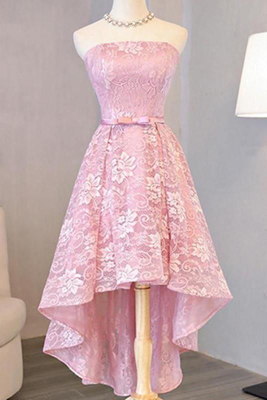 2018 Homecoming Dress Beautiful Pink Lace Asymmetrical Short Prom Dress Party Dress OK361