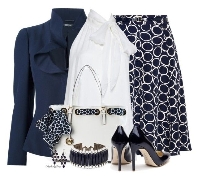 """Classic Navy n' White"" by stylesbyjoey ❤ liked on Polyvore featuring Alexander McQueen, Alice + Olivia, MICHAEL Michael Kors, Rupert Sanderson, Vince Camuto and Accessorize"