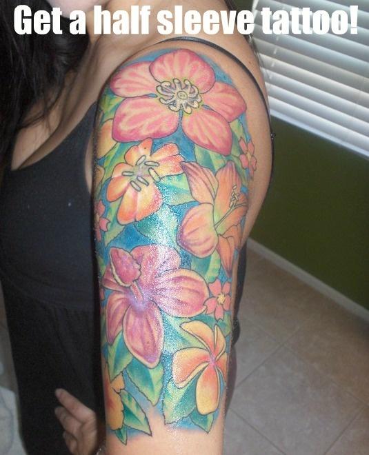 half sleeve tattoo: Flowers Tattoo, Tattoo Ideas, Bucketlist, Tattoo Flowing, Colors, Sleeve Tattoo Someday, Female Arm Tattoos, Half Sleeve Tattoo, Tattoo Luv