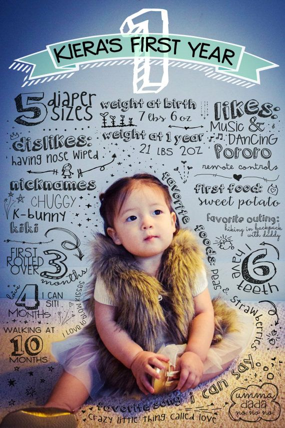 Baby's First Birthday Infographic baby 1st by LiveForBliss on Etsy