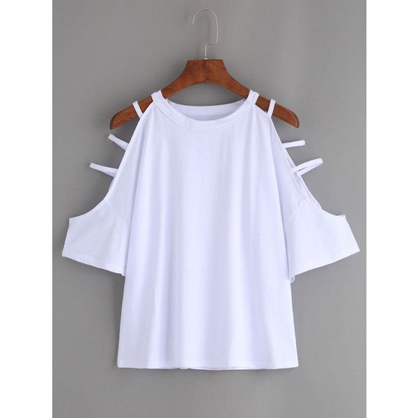 White Cutout Strappy Sleeve T-shirt ($12) ❤ liked on Polyvore featuring tops, t-shirts, white, white short sleeve top, round neck t shirt, sleeve t shirt, short sleeve tee and cut-out tops