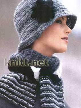 Вязание крючком шарф шляпа