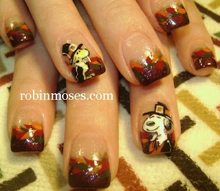 """Nail-art by Robin Moses:""""snoopy and woodstock pilgrim nail art"""" check out www.MyNailPolishObsession.com for more nail art ideas."""