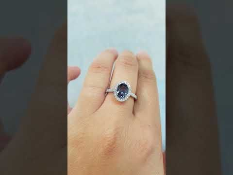 (1) Halo Diamond Gray Spinel Engagement Ring - Oval Cut Grey Spinel - Half-Eternity Band - YouTube