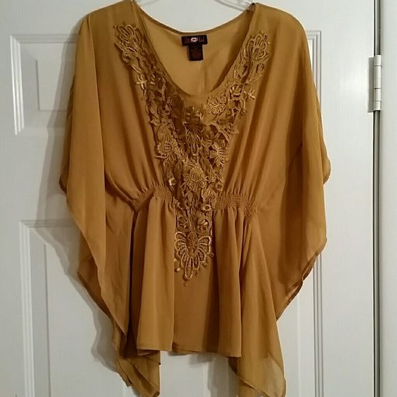 Beautiful  bronze /gold batwing top Almost sheer..Beautiful  cut. Gently worn excellent condition ultra flirt Tops Blouses
