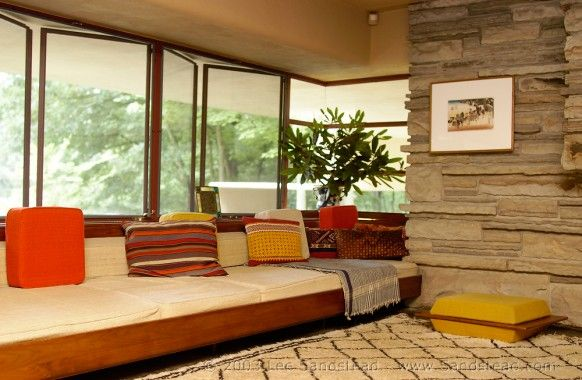 interior of falling water house Frank LLoyd Wright
