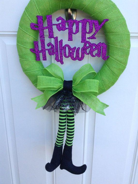 Happy Halloween Wreath - Witch Wreath - Burlap Wrapped Wreath -Halloween Wreath $50.00