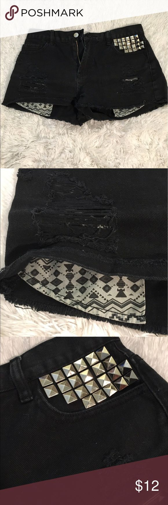 Forever 21 Black Distressed Studded Shirts Sz 28 Forever 21 Black Distressed Studded Shirts Sz 28 Forever 21 Shorts Jean Shorts