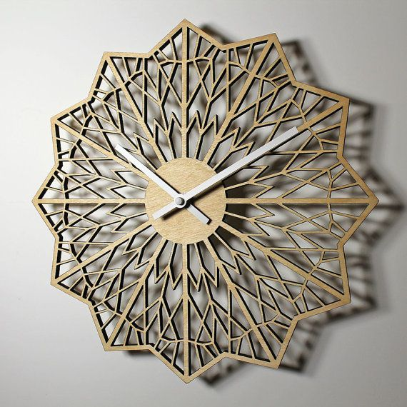 A Modern Geometric Design Wall Clock Made From Laser Cut
