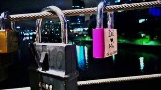 Melbourne Southgate Bridge has a Paris-like feel with the many locks attached to it.