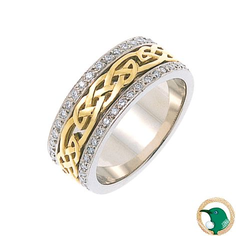 Our Ladies Desire Diamond Celtic ring in 18ct white and yellow gold