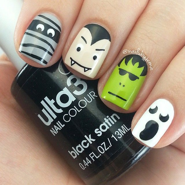 Halloween cartoon faces nail art
