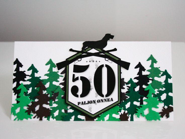 DIY: Onnittelukortti 50-vuotiaalle  (metsästysaihe) / 50th Birthday card  (hunting theme)
