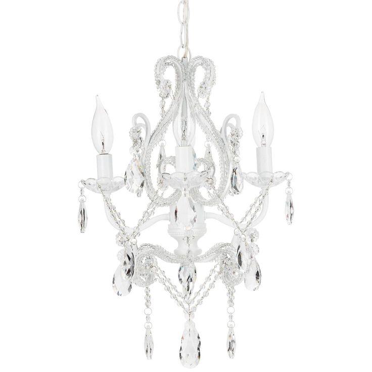 4 light mini crystal beaded plugin chandelier white