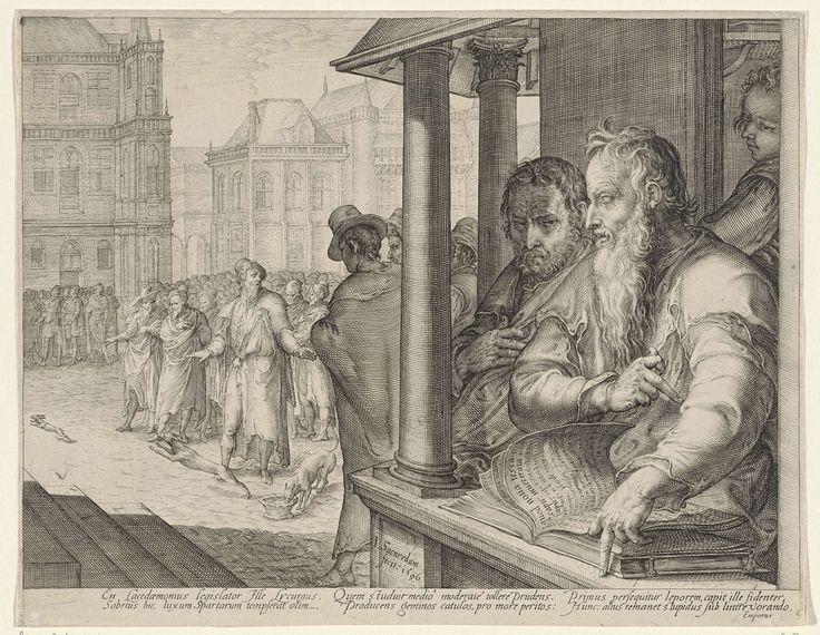 Jan Saenredam   Lycurgus houdt een verhandeling over de voordelen van opvoeding, Jan Saenredam, 1596   Lycurgus, de befaamde Spartaanse wetgever, rechts op de voorgrond. Hij leest uit een boek. Op de achtergrond een marktplein met toeschouwers. Twee honden worden op het marktplein losgelaten. De ene hond eet uit een bak voedsel dat voor hen is klaargezet, de andere hond rent een losgelaten haas achterna. De voorstelling verbeeldt een parabel van Lycurgus. De wetgever wou het belang van…