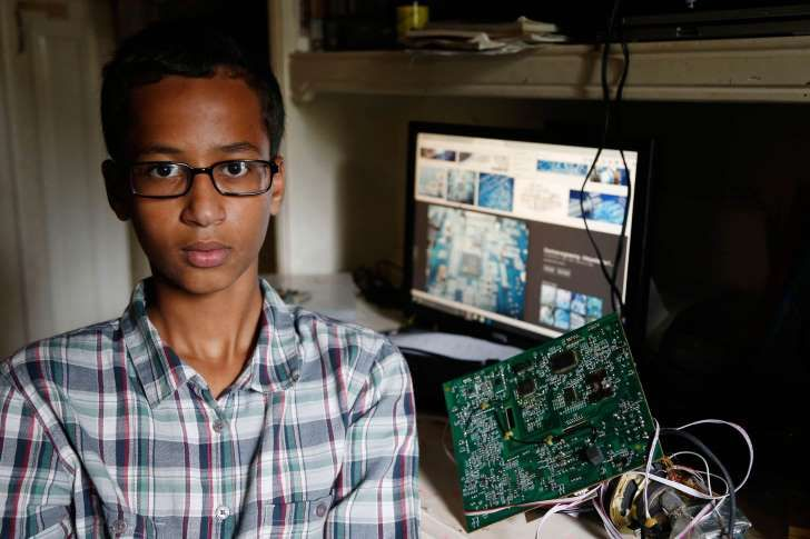 Irving MacArthur High School student Ahmed Mohamed, 14, poses for a photo at his home in Irving, Texas, on Tuesday, Sept. 15, 2015. Mohamed was arrested and interrogated by Irving Police officers on Monday after bringing a homemade clock to school.