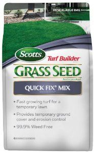 Scotts 18172 Turf Builder Quick Fix Mix Bag, 3-Pound by Scotts. $12.12. Great for quick fill of bare spots. Seeds up to 750 sq ft. Provides temporary ground cover and erosion control. Fast growing turf for a temporary lawn. 99.9% weed free. Scotts Turf Builder Quick Fix Grass Seed Mix is fast growing turf for a temporary lawn.  It provides temporary ground cover and erosion control.  99.9% weed free.  Great for quick fill of bare spots.  3 lb bag seeds up to 750 sq ft.