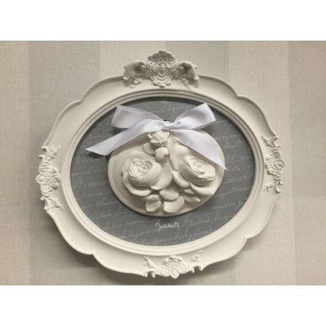 Wandbild oval mit Duftstein weiß