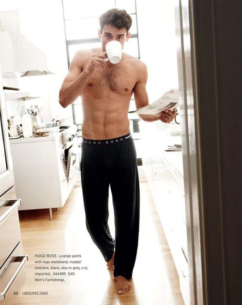 Good morning handsome!Lounges Pants, Sunday Mornings, Mornings Personalized, Mornings Coffee, Hugo Boss, Pajamas Pants, Eye Candies, Lounge Pants, Saturday Mornings