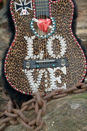 Leopard sparkle guitar
