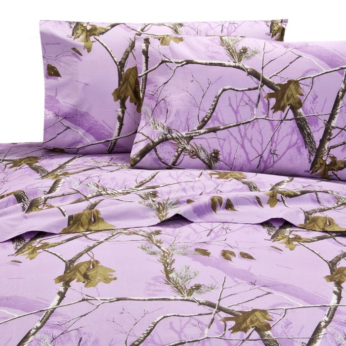 Lavender camo bed sheets. I'm in love with these! #gotitfree