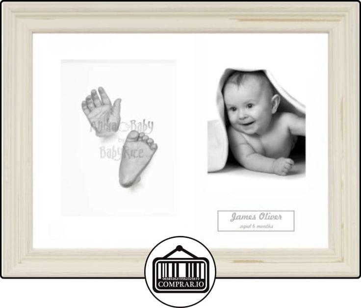 Anika-Baby Kit de moldeo para huellas de bebé marco para 3fotos Shabby Chic paspartú retrato blanco/fondo blanco/pintura plateado 29,1x 21,6cm  ✿ Regalos para recién nacidos - Bebes ✿ ▬► Ver oferta: http://comprar.io/goto/B00I8WFQJ2