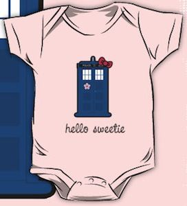 Hello Kitty Meets Doctor Who's Tardis baby Bodysuit! Ohhh my perfect for evan and me haha both our favorite things COMBINED!