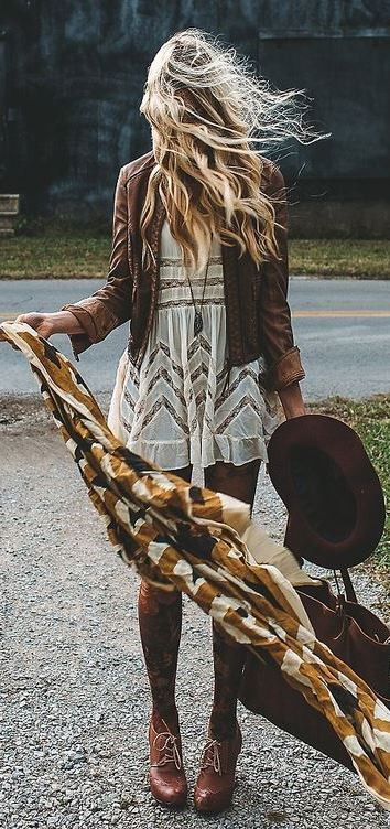 awesome fall boho style addict / brown jacket + scarf + hat + lace dress + bag + boots