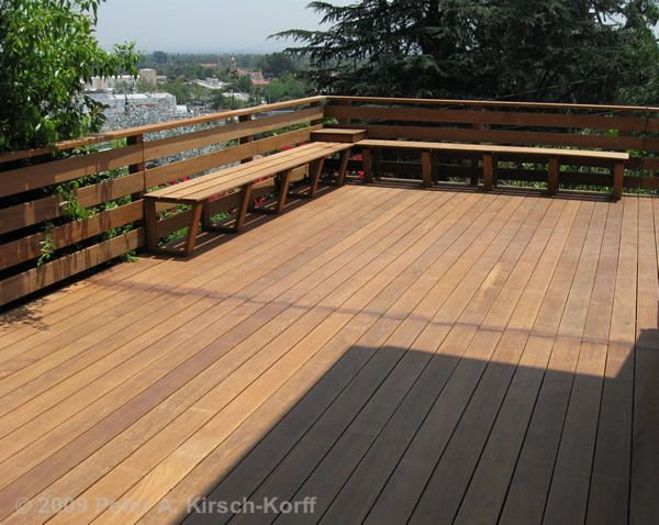 Modern Ironwood/Ipe Wood Deck (view detail) - South Pasadena, CA