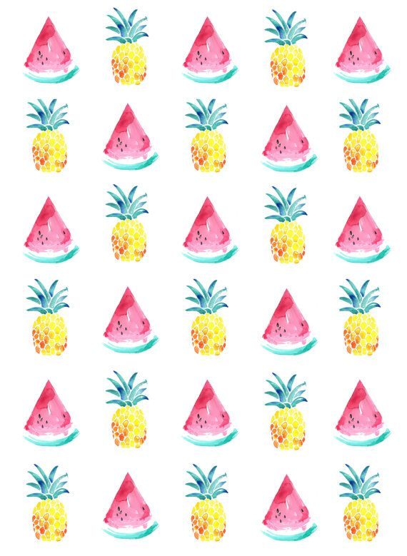 watermelon and pineapple A5 print by seaandjay on Etsy