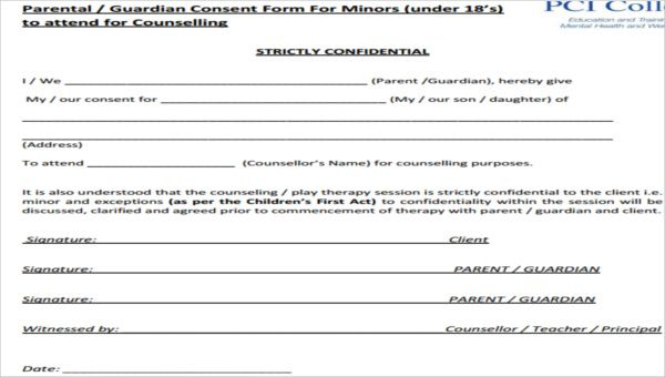 Free 7 Counseling Consent Forms In Sample Example Format