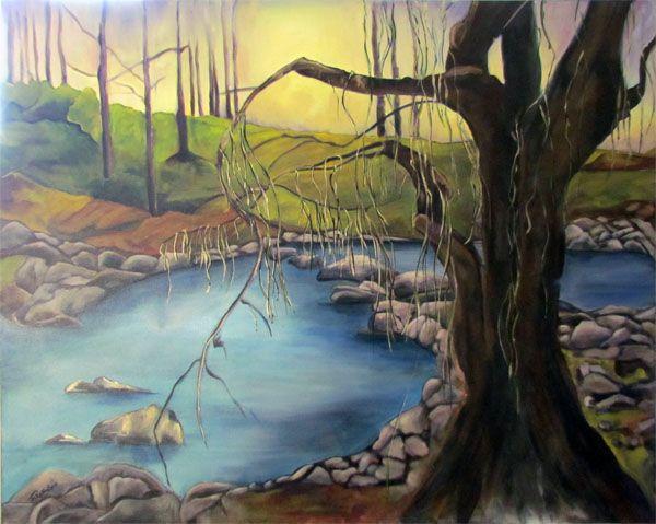 River Walk landscape fine art painting  by Deborah Robinson Acrylic on Canvas.