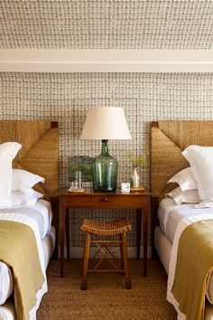 Wallpaper, Woven Headboard, Twin Beds, Guest Room