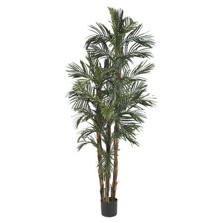 This lush silk robellini palm tree effortlessly evokes a tropical paradise with rich green fronds and weathered trunks nestled in a black planter.