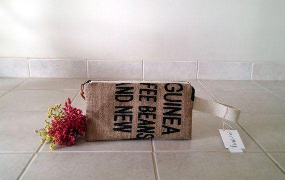 Blue Bean Burlap Clutch - wristlet - jute - handbag - zipper - small bag - made in michigan - coffee bean bag - repurposed - floral