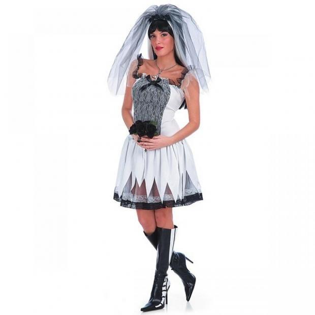 Gothic Braut Halloween Party schwarz weiß Kleid Schleier Faschin