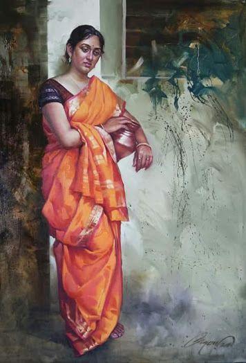 Orange color Sari