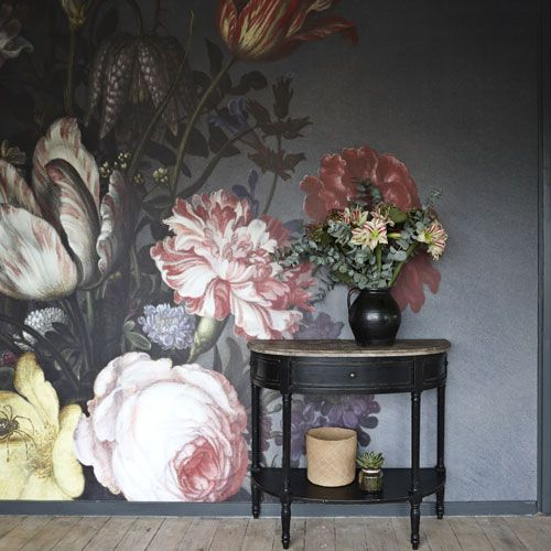 Hallyway | Large-scale mural | blown-up artwork | still-life painting | antique console | dramatic image | Modern | | Livingetc