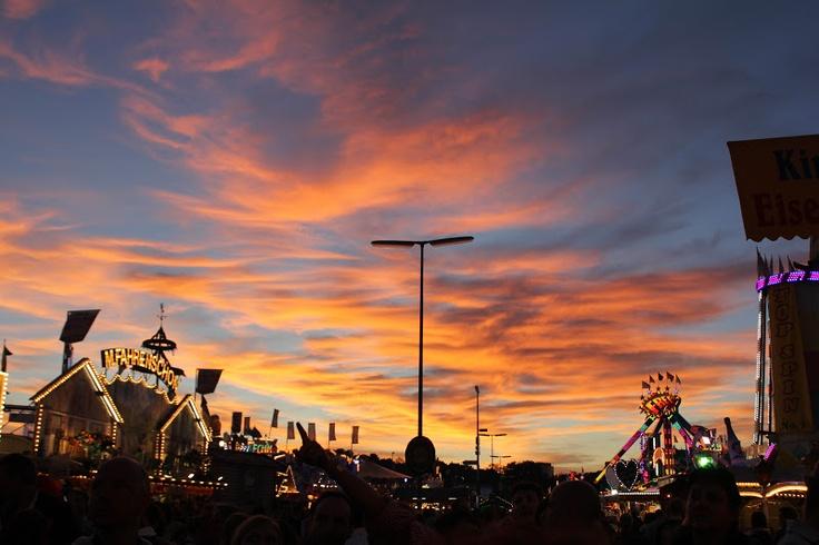 sunset at Oktoberfest 2012, Munich, Germany.