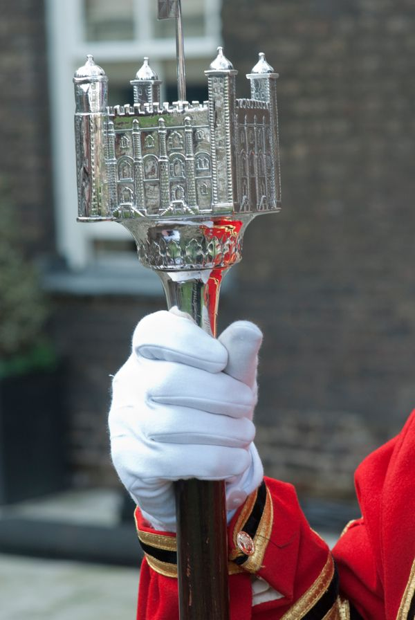 "What a statement!  WOW!  Looks like it's being held by a ""beefeater"" at the Tower of London........ in London, England"