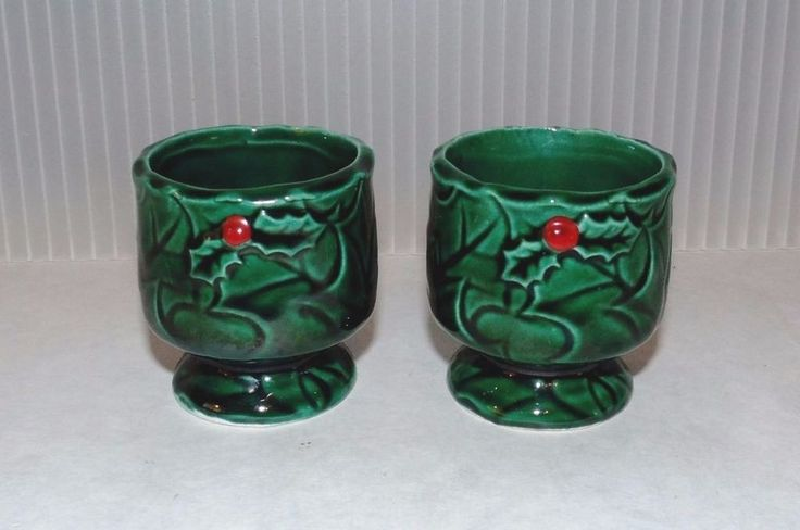 Mid Century Vintage Lefton China Christmas Candle Holder Egg Cup Set Holly #4369  | eBay