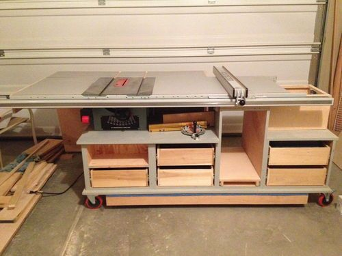 Mobile table saw/router table with an infeed and outfeed table #1: Mobile table saw/router table  section