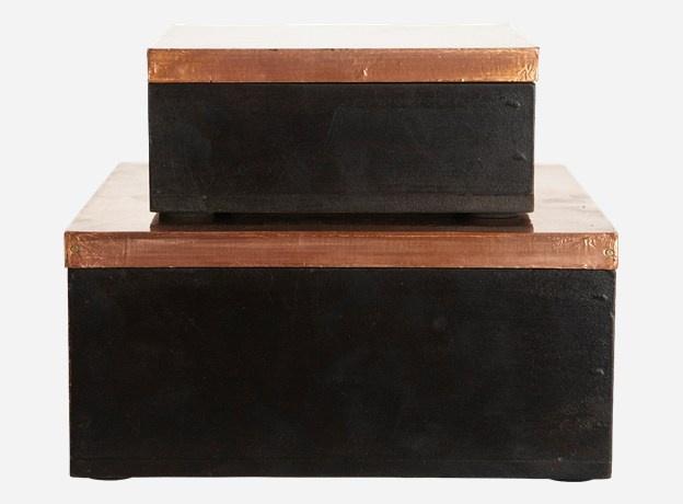 Storage, Simple, set of 2, copper finish/black, S.: 13x13 cm h.: 5 cm, L.: 18x18 cm, h.: 8 cm