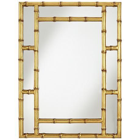 "Jai Gold Bamboo 30"" x 39 3/4"" Rectangular Mirror - #9N145   www.lampsplus.com"
