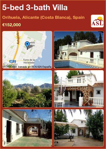 5-bed 3-bath Villa in Orihuela, Alicante (Costa Blanca), Spain ►€152,000 #BargainPropertyInSpain