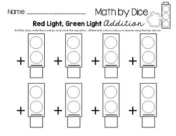 """Math by Dice - Red Light, Green Light Addition """"Math by Dice"""" pack for just $1.00!  Visit www.littlelearninglane.com for more fun ideas & FREE printables!"""