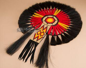 "Native American Beaded Horse Hair Dance Bustle 16""""x23"""" -Navajo (b1)"