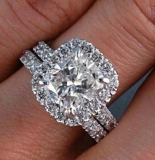 details about 200 ct bridal wedding set cushion cut halo pave natural diamond ring gia cert - Engagement Rings With Wedding Band