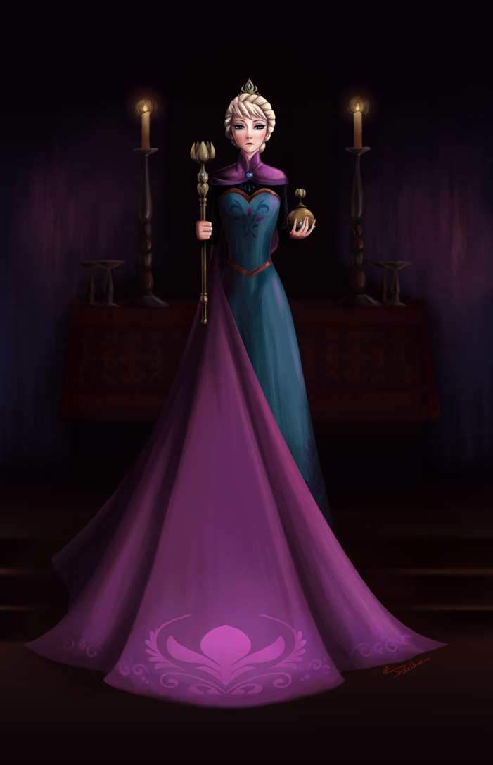 Fantastic Frozen Fan Art! This imposing piece imagines what Elsa's royal portrait would have looked like.