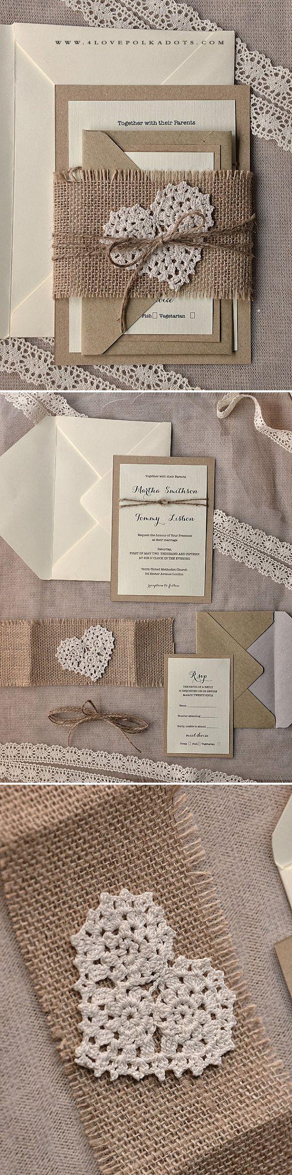 Rustic Wedding Invitation #handmade #rustic #ecopapers #countrywedding